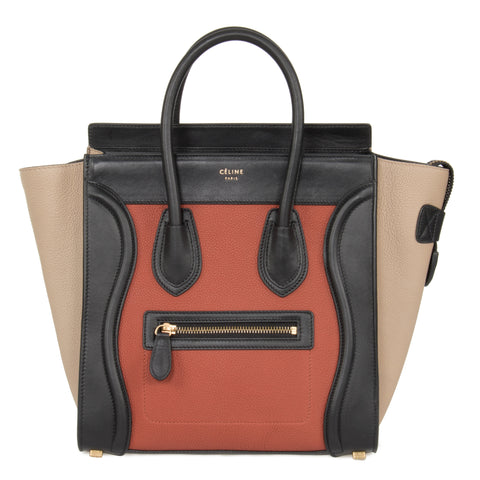 Celine Micro Luggage Leather Bag | Tri-Color Black Tan