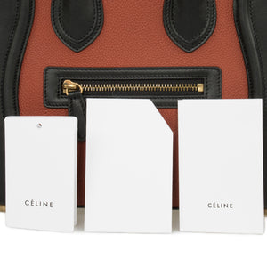 Céline Micro Luggage Leather Bag | Tri-Color Black Tan