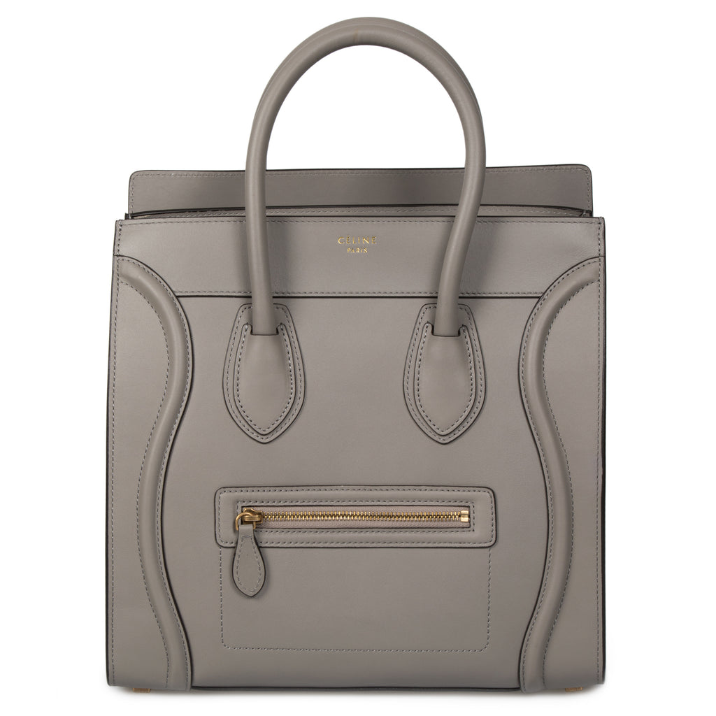 Celine Mini Luggage Bag | Gray with Gold Hardware