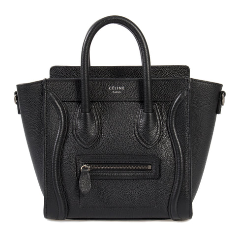 Celine Nano Luggage Black Baby Drummed Calfskin Bag