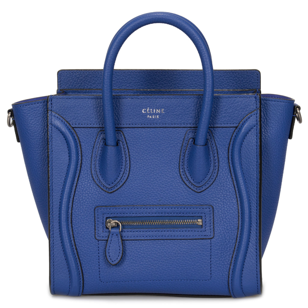 Céline Nano Luggage Bag in Baby Drummed Indigo Calfskin Leather