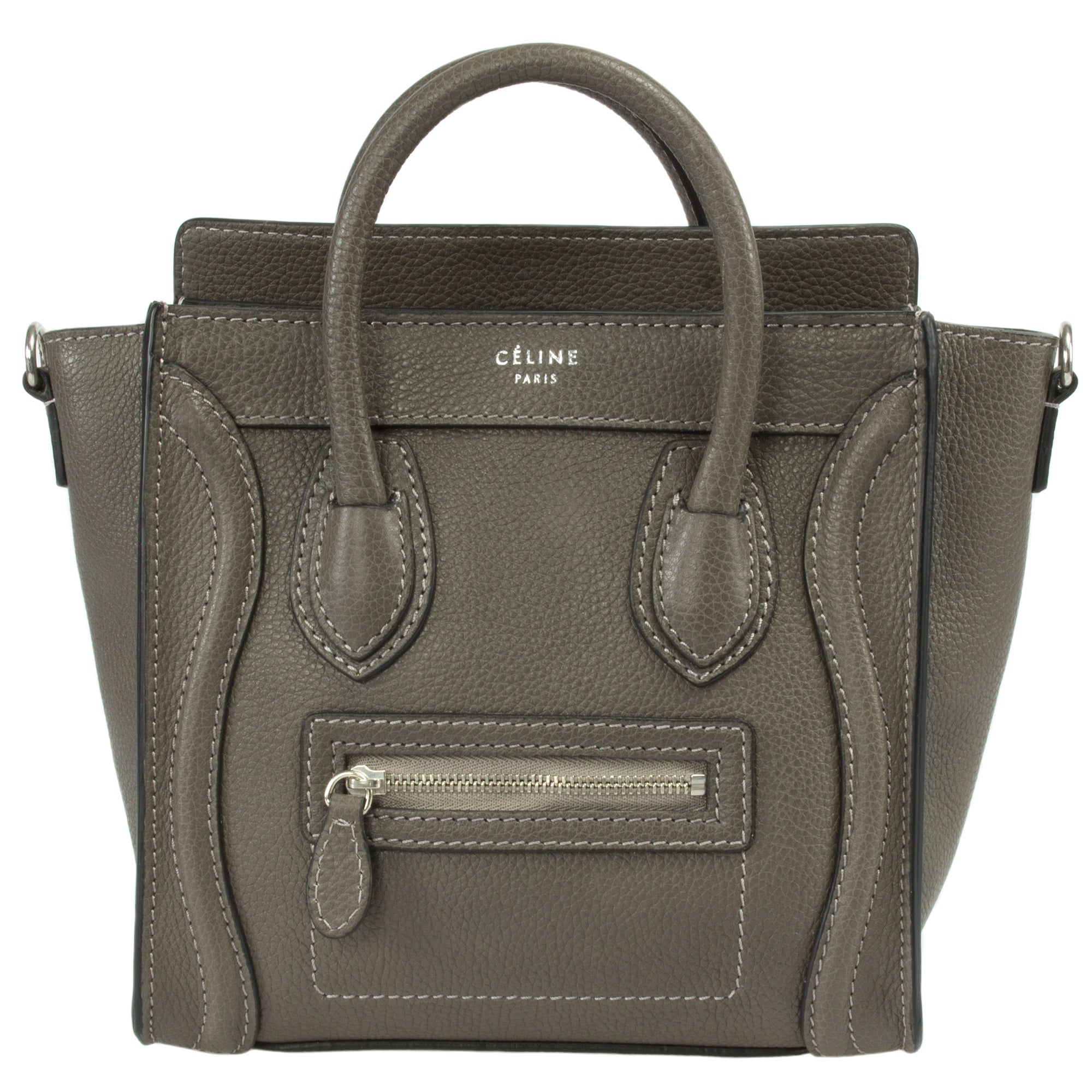 Celine Nano Luggage Grey Leather Bag | gray w/ Silver Hardware