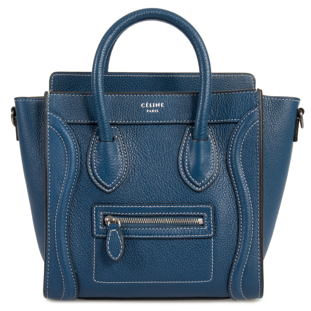 Céline Nano Luggage Navy Calfskin Leather Bag