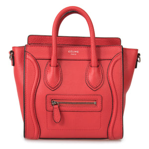 Céline Nano Luggage Red Baby Grained Calfskin Leather Nano Luggage Shoulder Bag