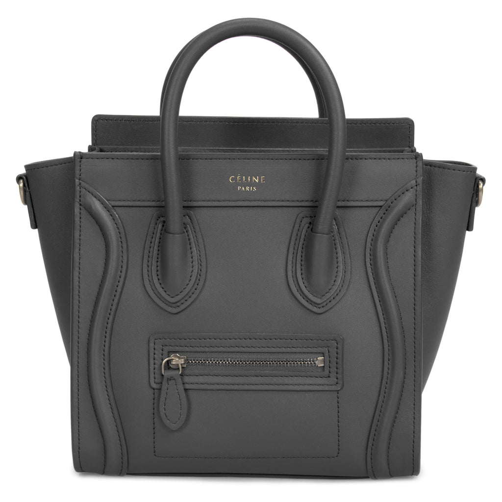 Céline Nano Luggage Bag in Smooth Black Calfskin Leather