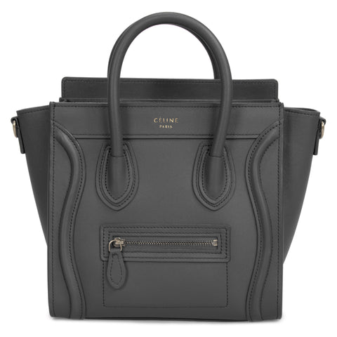 Celine Nano Luggage Bag in Smooth Black Calfskin Leather