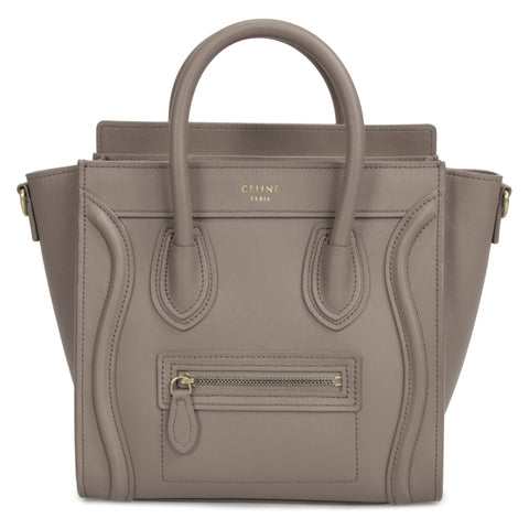 Celine Nano Luggage Bag in Smooth Gray Calfskin Leather