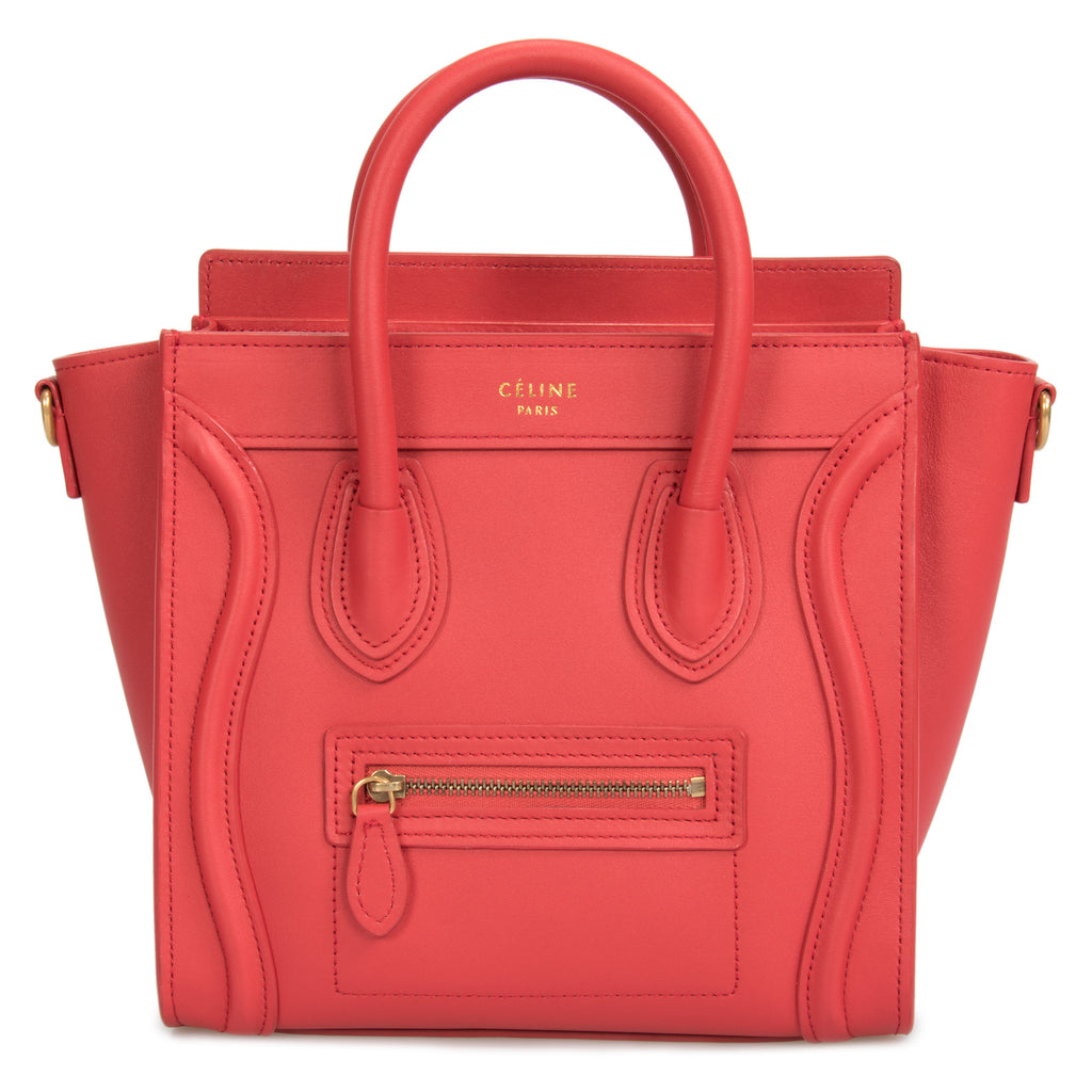 Celine Nano Luggage Bag in Smooth Red Calfskin Leather