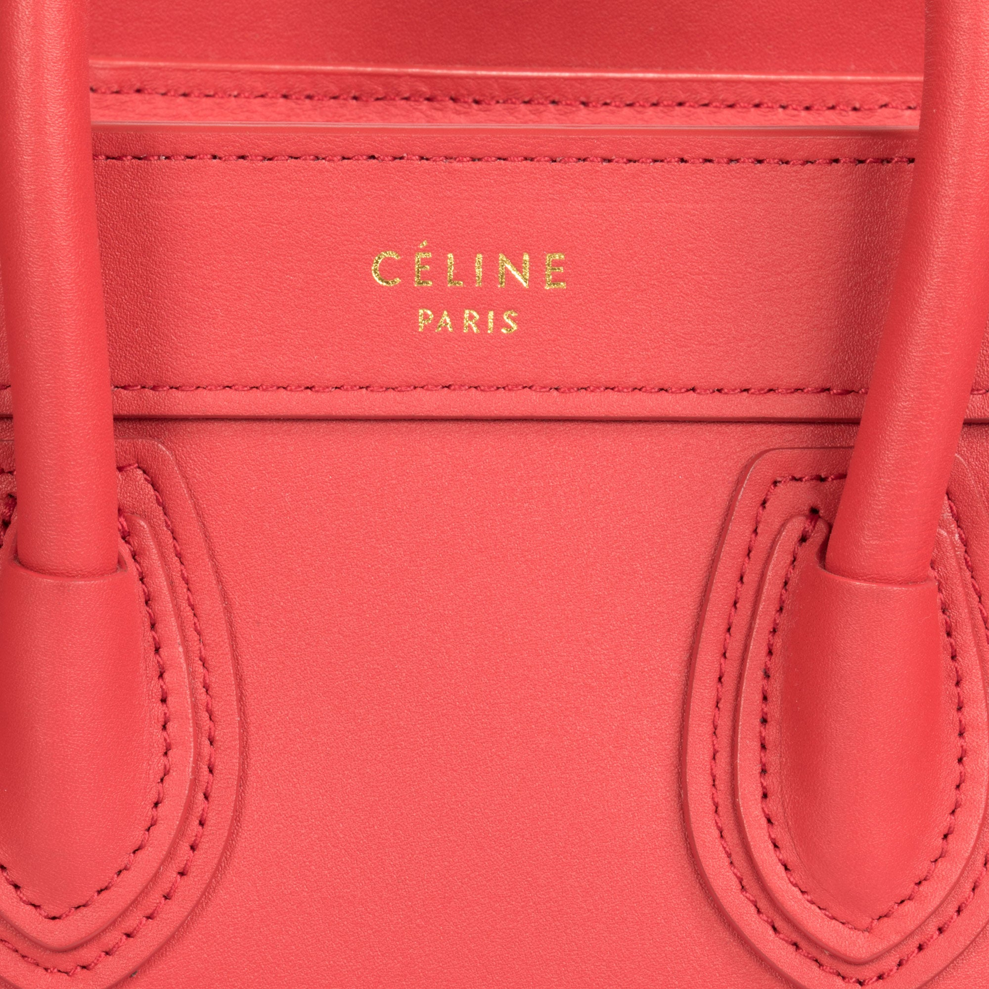 Céline Nano Luggage Bag in Smooth Red Calfskin Leather