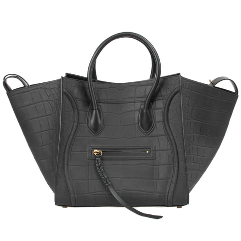 Celine Medium Luggage Phantom Bag In Black Nubuck Stamped Crocodile Leather
