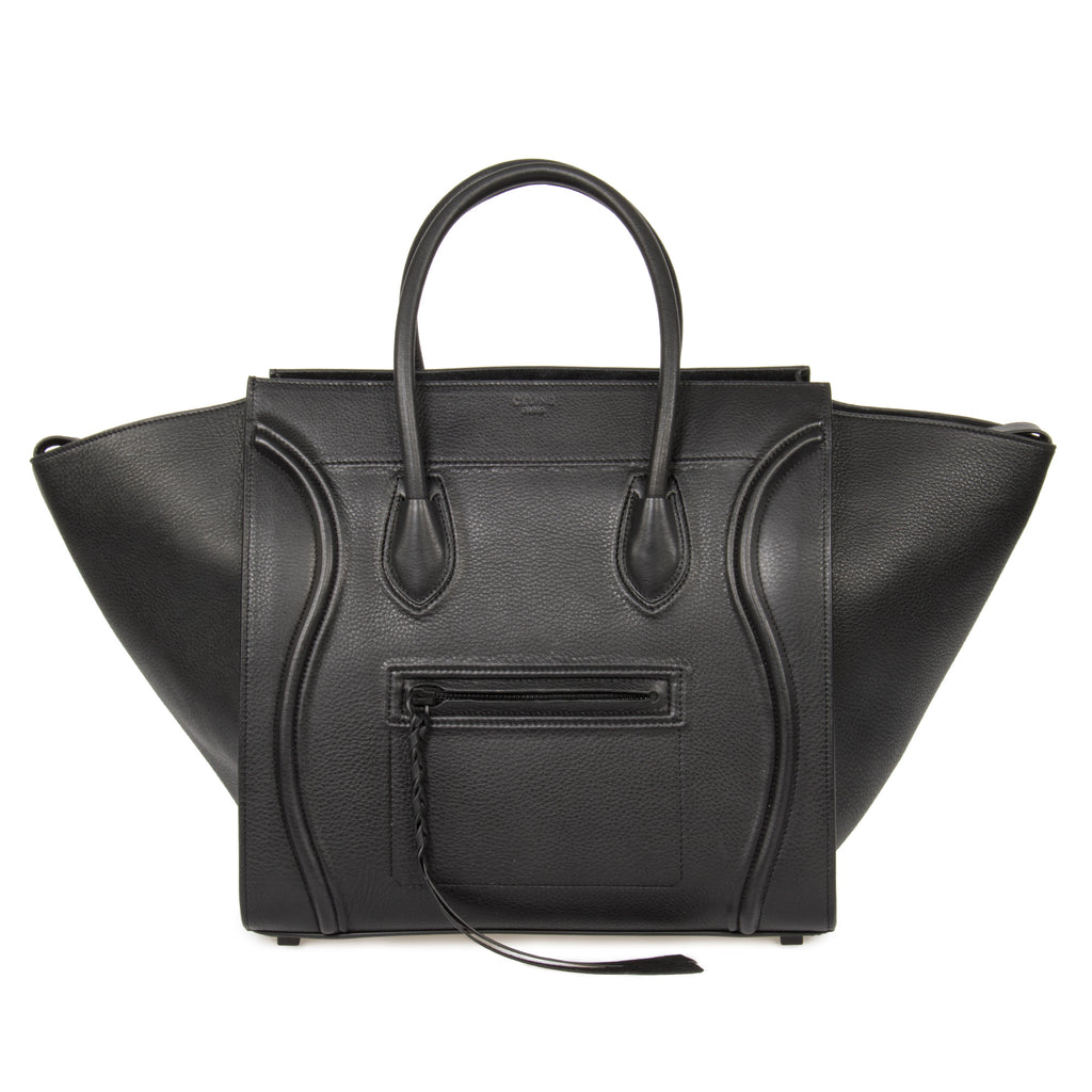 Celine Medium Luggage Phantom Bag In Black Leather