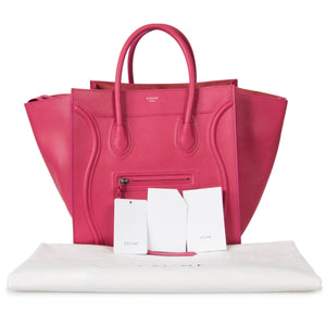 Celine Medium Luggage Phantom Bag In Fuchsia Baby Grained Calfskin Leather