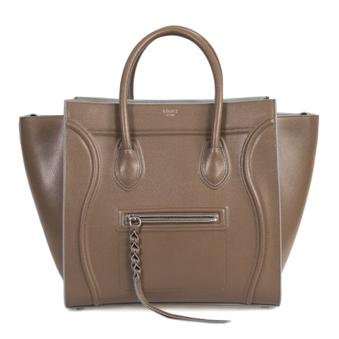 Celine Medium Luggage Phantom Bag In Taupe Baby Grained Calfskin Leather