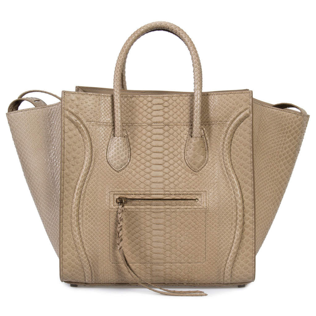 Céline Medium Luggage Phantom Bag In Taupe Python
