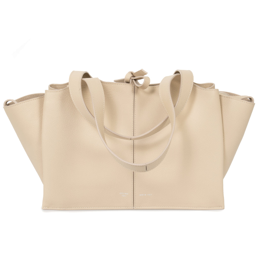 Celine Tri-Fold Shoulder Bag | Beige Grained Calfskin Leather