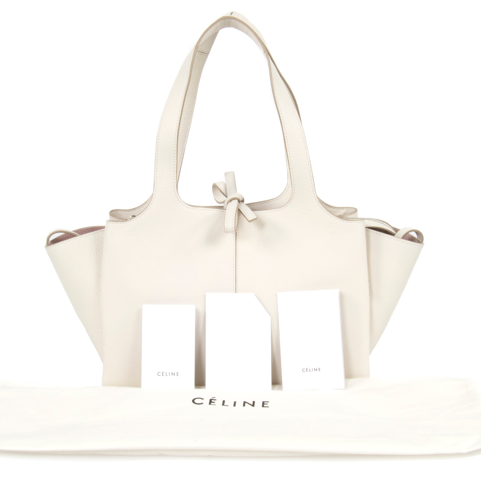 Céline Tri-Fold Shoulder Bag | Ivory Grained Calfskin Leather