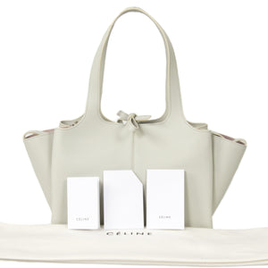 Céline Tri-Fold Shoulder Bag | Pale gray Grained Calfskin Leather