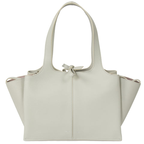 Celine Tri-Fold Shoulder Bag | Pale gray Grained Calfskin Leather
