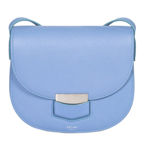 Celine Small Trotteur Pool Blue Grained Calfskin Leather Crossbody Bag
