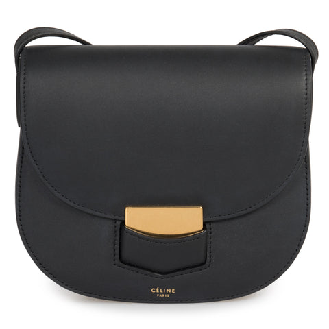 Celine Small Trotteur Matte Black Natural Calfskin Leather Crossbody Bag