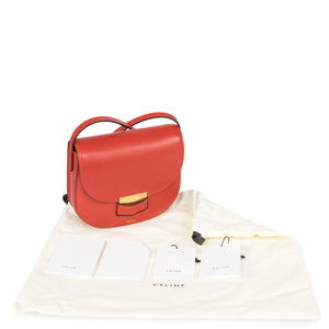 Céline Trotteur Small Red Calfskin Leather Crossbody Handbag