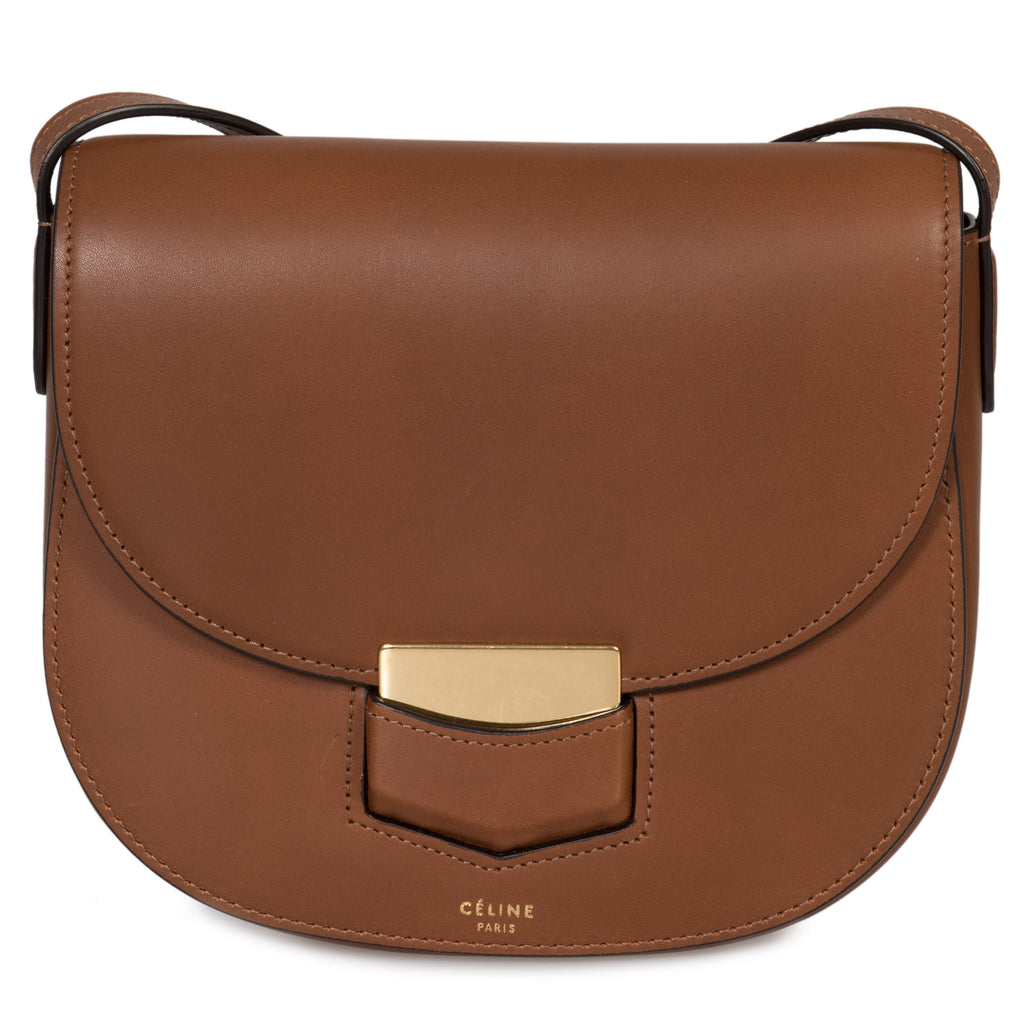 Celine Small Trotteur Havana Natural Calfskin Leather Crossbody Bag