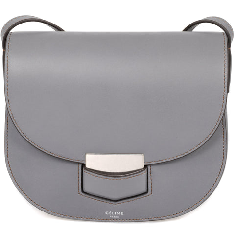 Celine Trotteur Small Smooth Grey Leather Crossbody Handbag