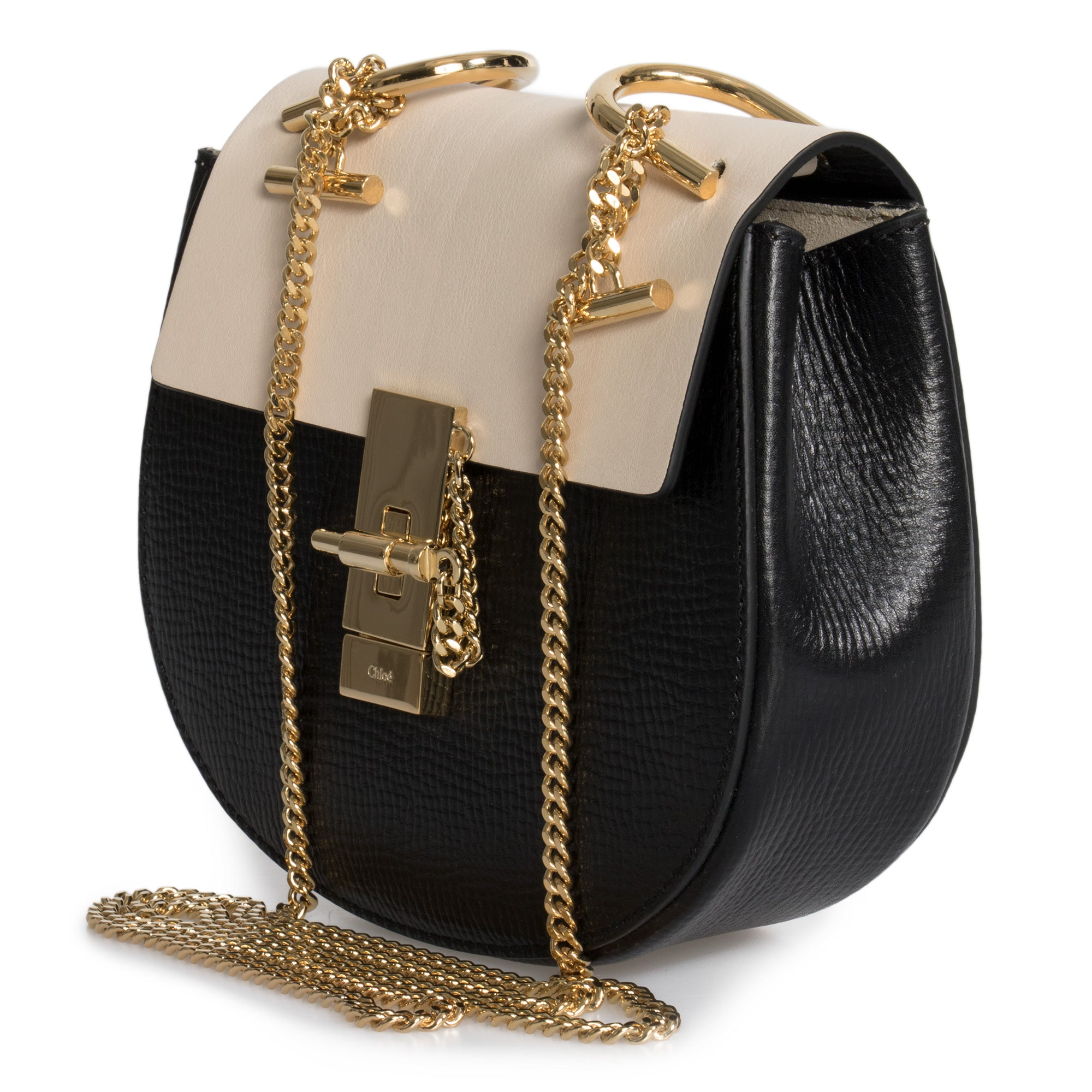Chloe Mini Drew Bag In Small Grain & Smooth Calfskin Leather