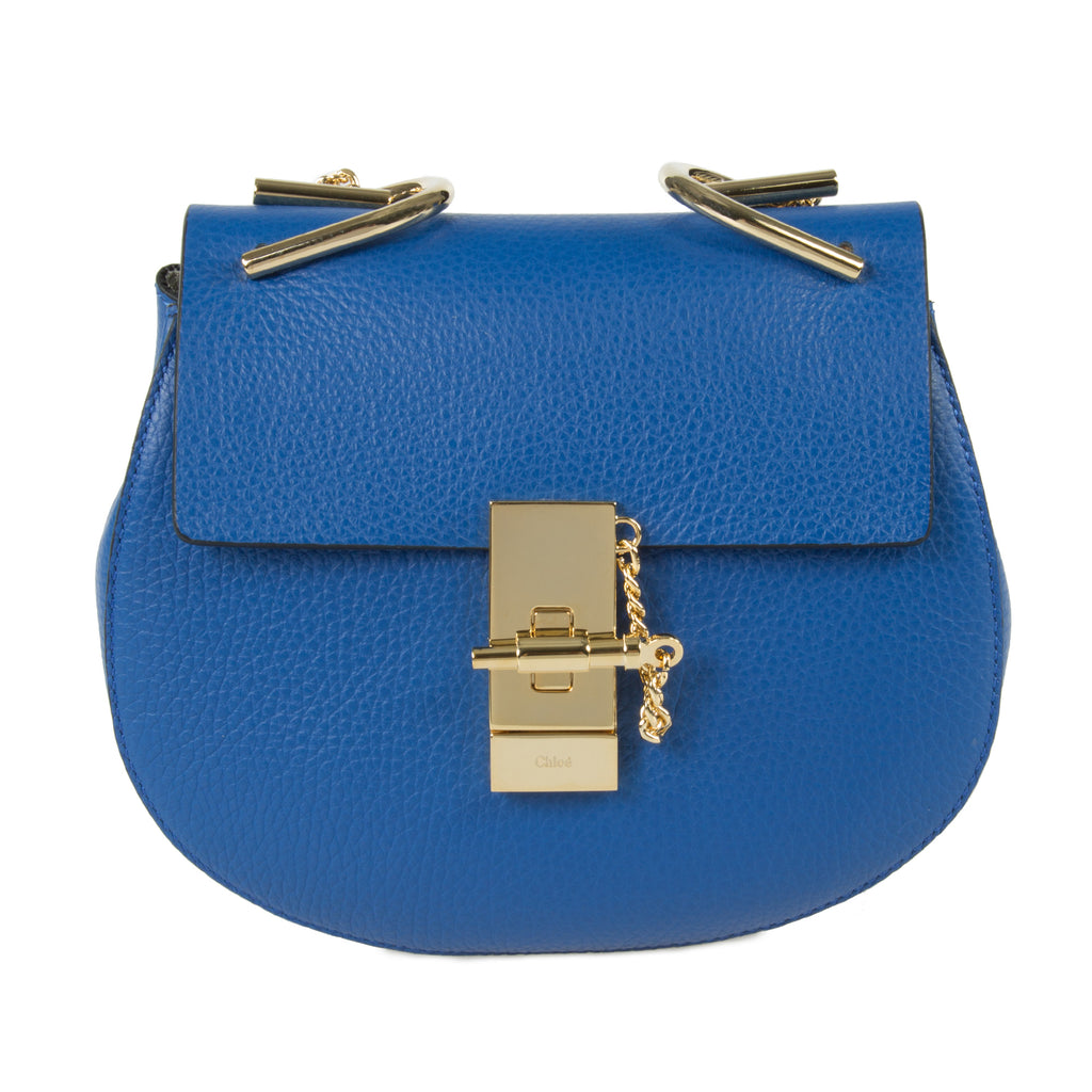 Chloe Drew Bag | Blue with Gold Hardware | Small