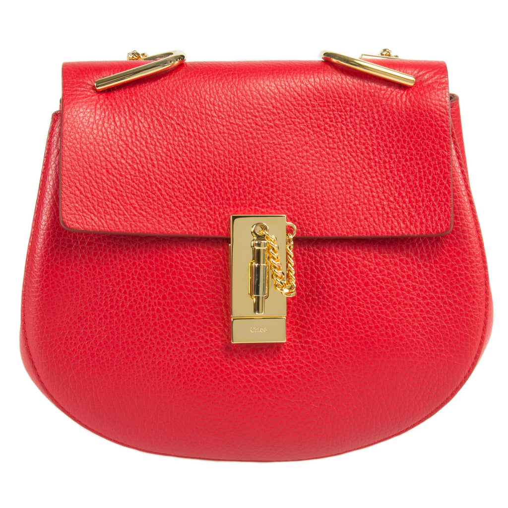 Chloe Drew Shoulder Bag | Plaid Red w/ Gold Hardware | Size Medium