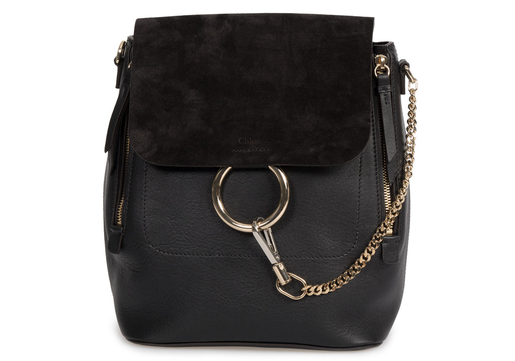 Chloe Medium Black Leather Faye Backpack