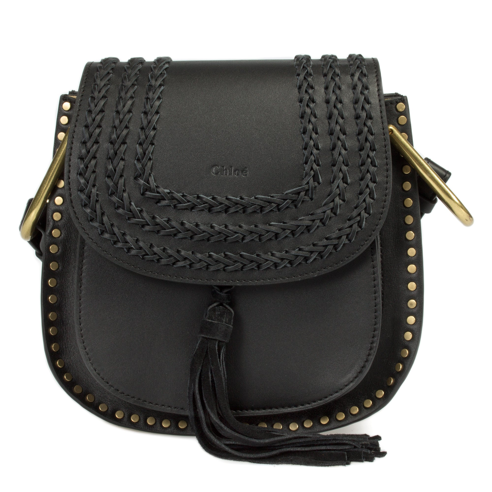 Chloé Hudson Calfskin Shoulder Bag | Black with Gold Hardware