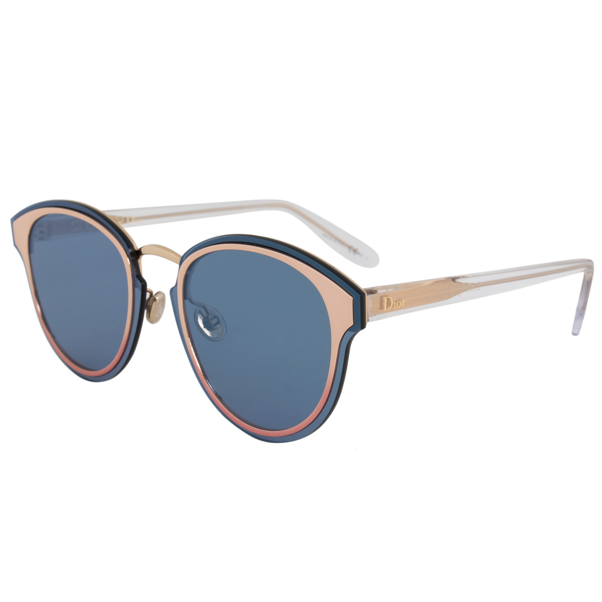 Christian Dior Nightfall Sunglasses 35J2A 65 | Rose Gold Frame | Blue Mirrored Lenses