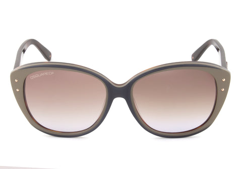 DSquared DQ0094 92F Cateye Sunglasses | Taupe/Navy Blue/Havana Frame | Brown Gradient Lens