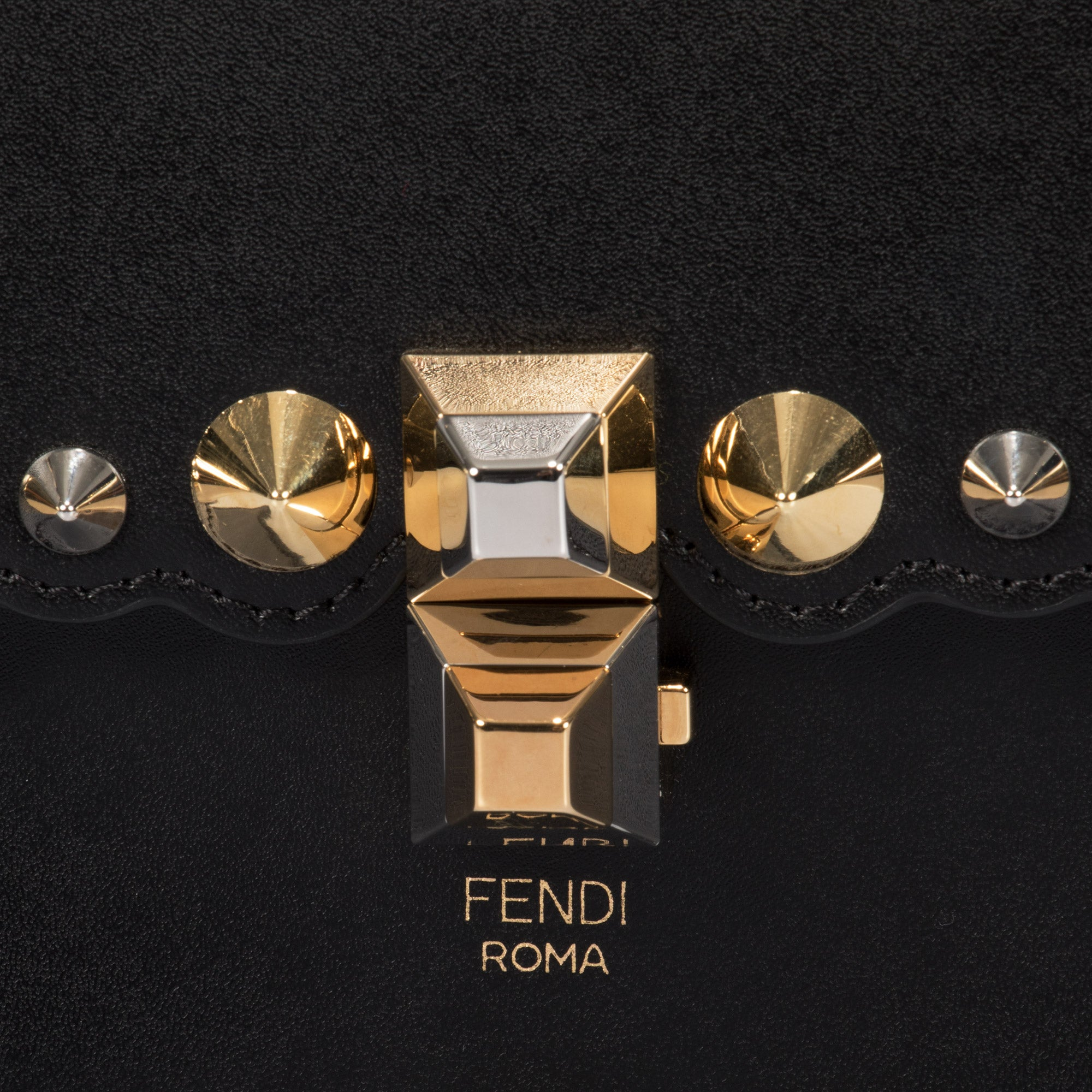 Fendi Black Kan I Leather Mini Bag