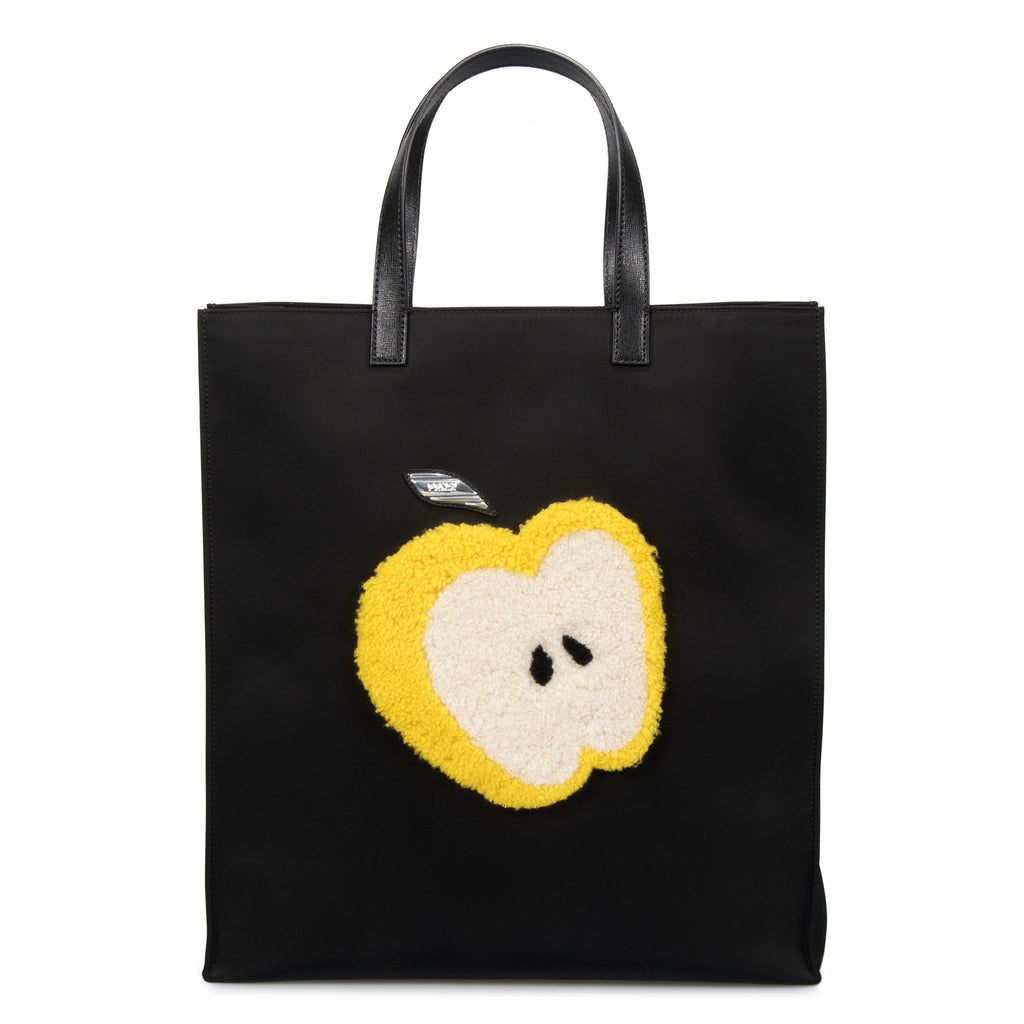 Fendi Large Black Grocery Tote with Apple Design