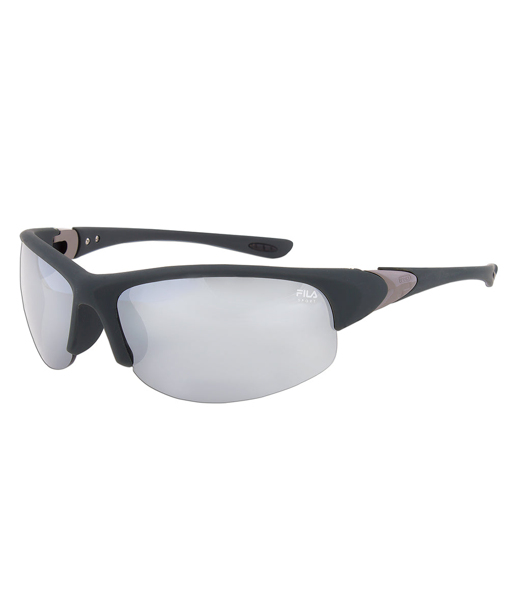 Fila Sport F1033E 035 Wrap Sunglasses | Rubberized Metallic grey Frame | grey Lenses