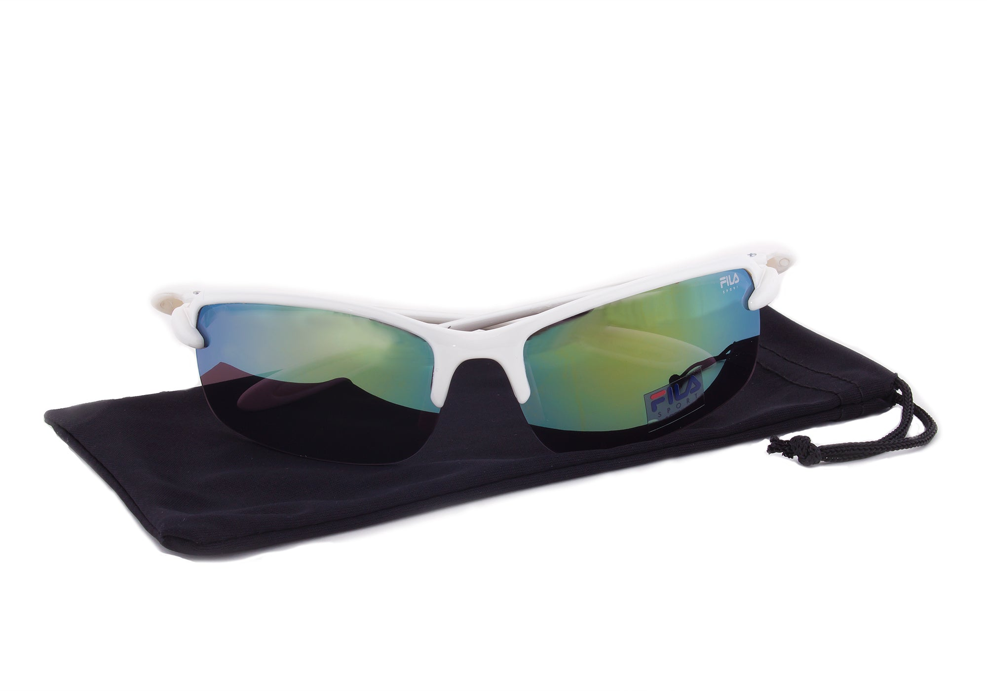 Fila Sport FAC1043 109 Rectangular Wrap Sunglasses | White Frame | grey Mirror Lens