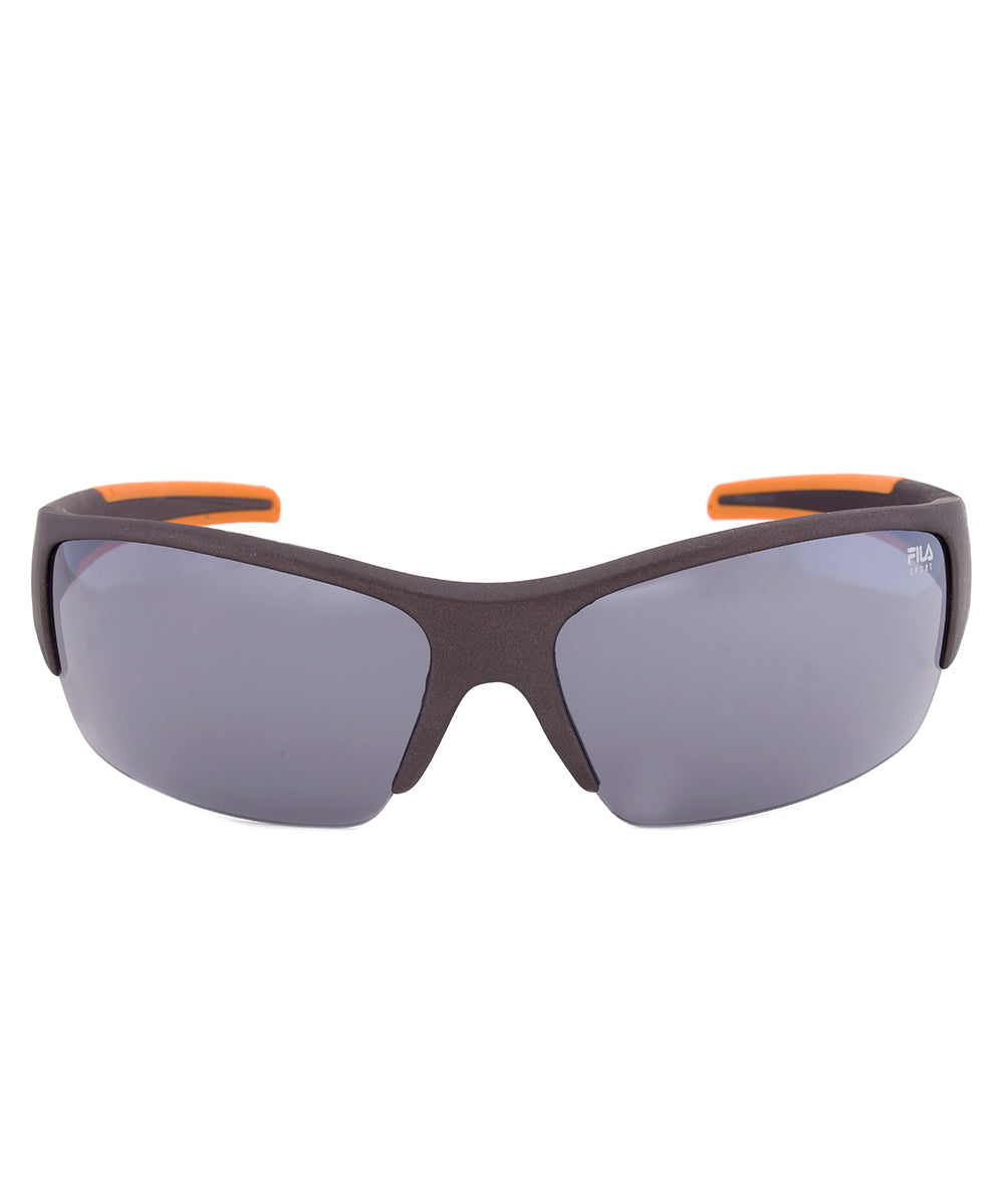 Fila F1048C 800 Rectangular Wrap Sunglasses | Grey and Orange Frame | Grey Lens
