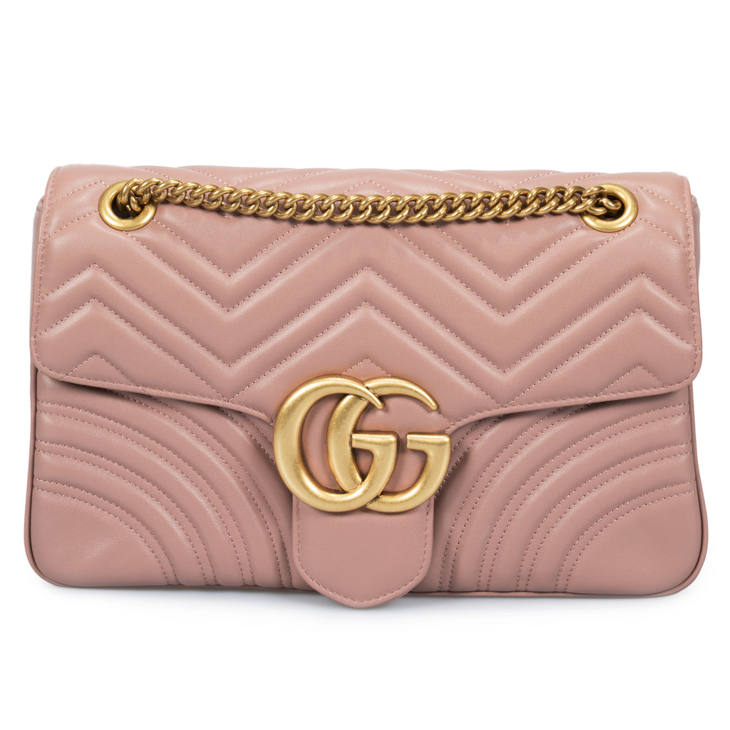 Gucci Marmont Leather Shoulder Bag in Dusty Pink