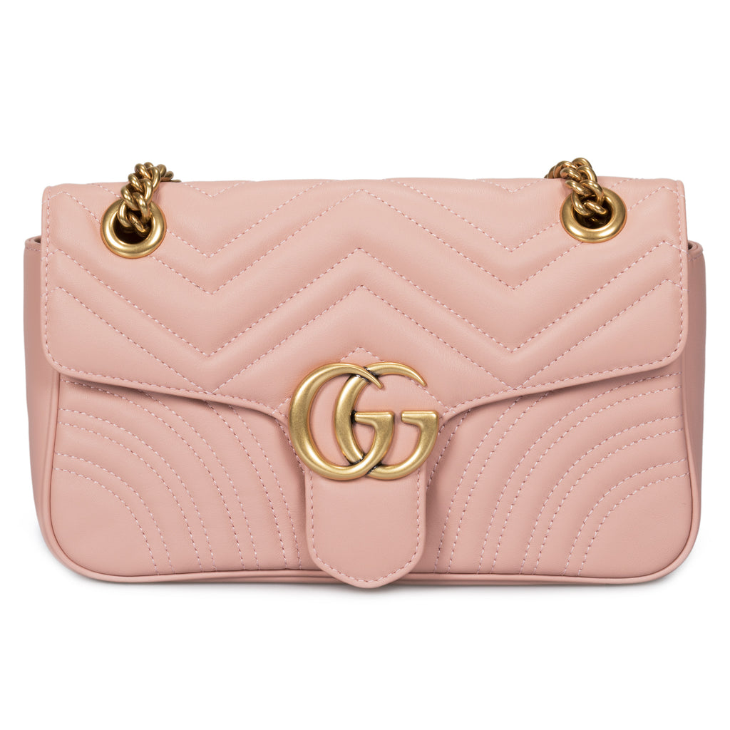 Gucci Marmont Leather Shoulder Bag in Light Pink