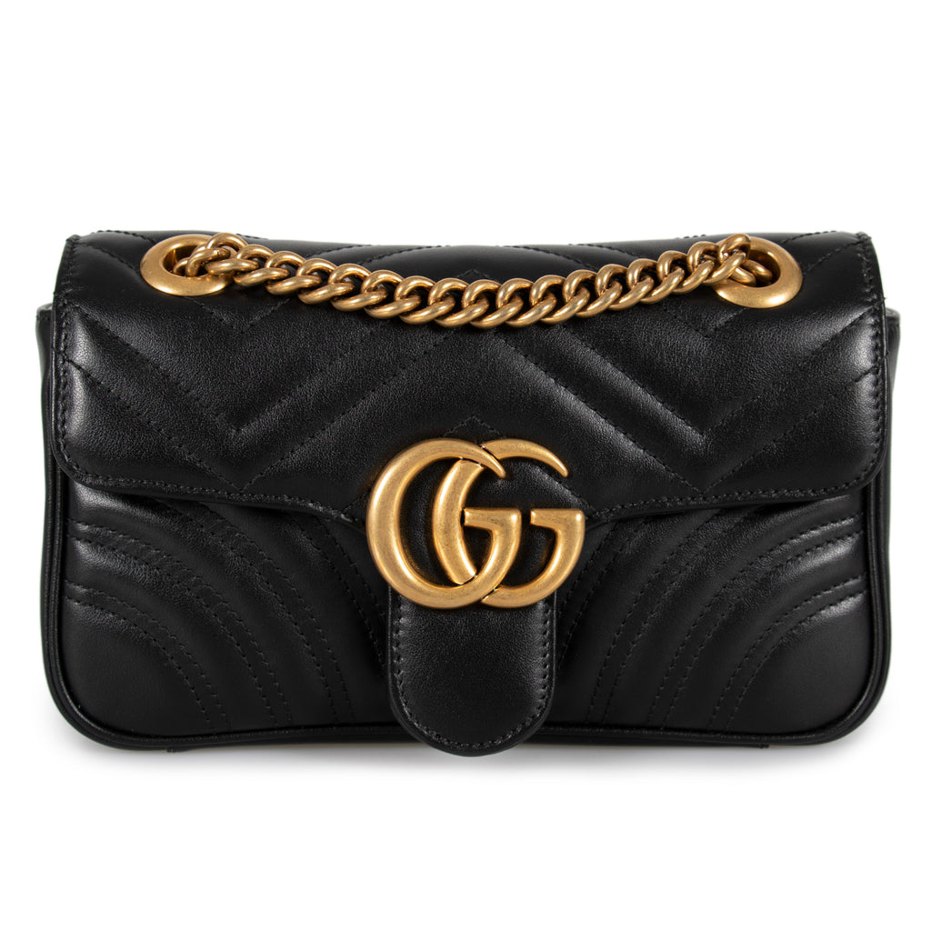 Gucci Marmont Mini Leather Shoulder Bag in Black