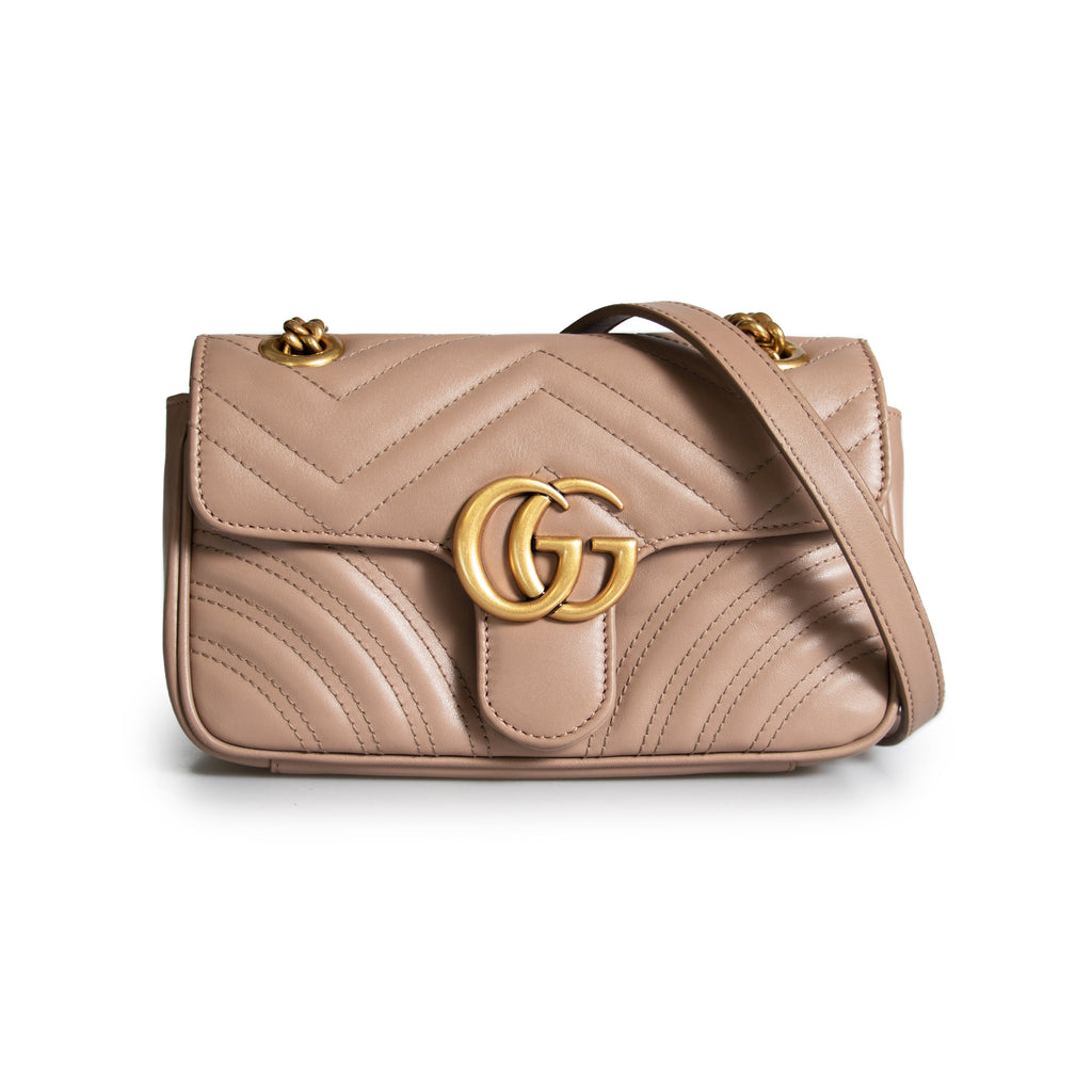Gucci Marmont Mini Leather Shoulder Bag in Dusty Pink