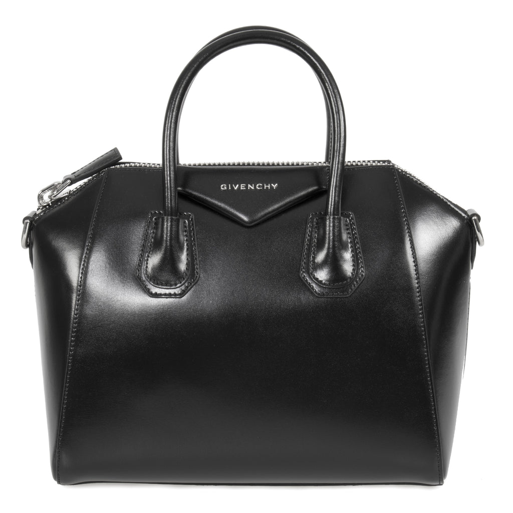 Givenchy Antigona Calfskin Leather Satchel Bag | Black with Silver Hardware | Small