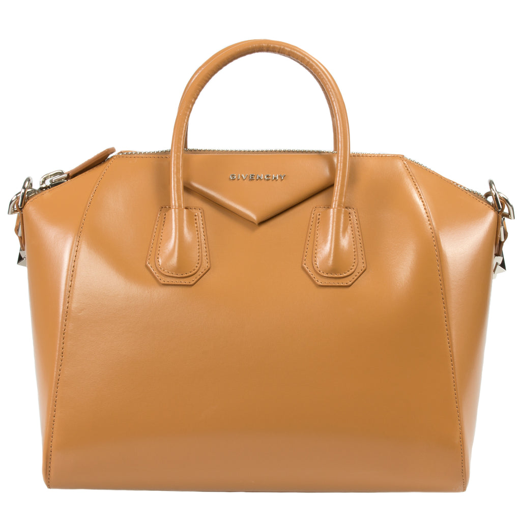 Givenchy Antigona Leather Satchel Bag | Glossy Caramel w/ Silver Hardware | Medium