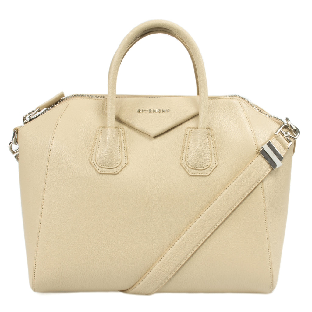 Givenchy Antigona Sugar Goatskin Satchel Bag | Beige w/ Silver Hardware | Medium