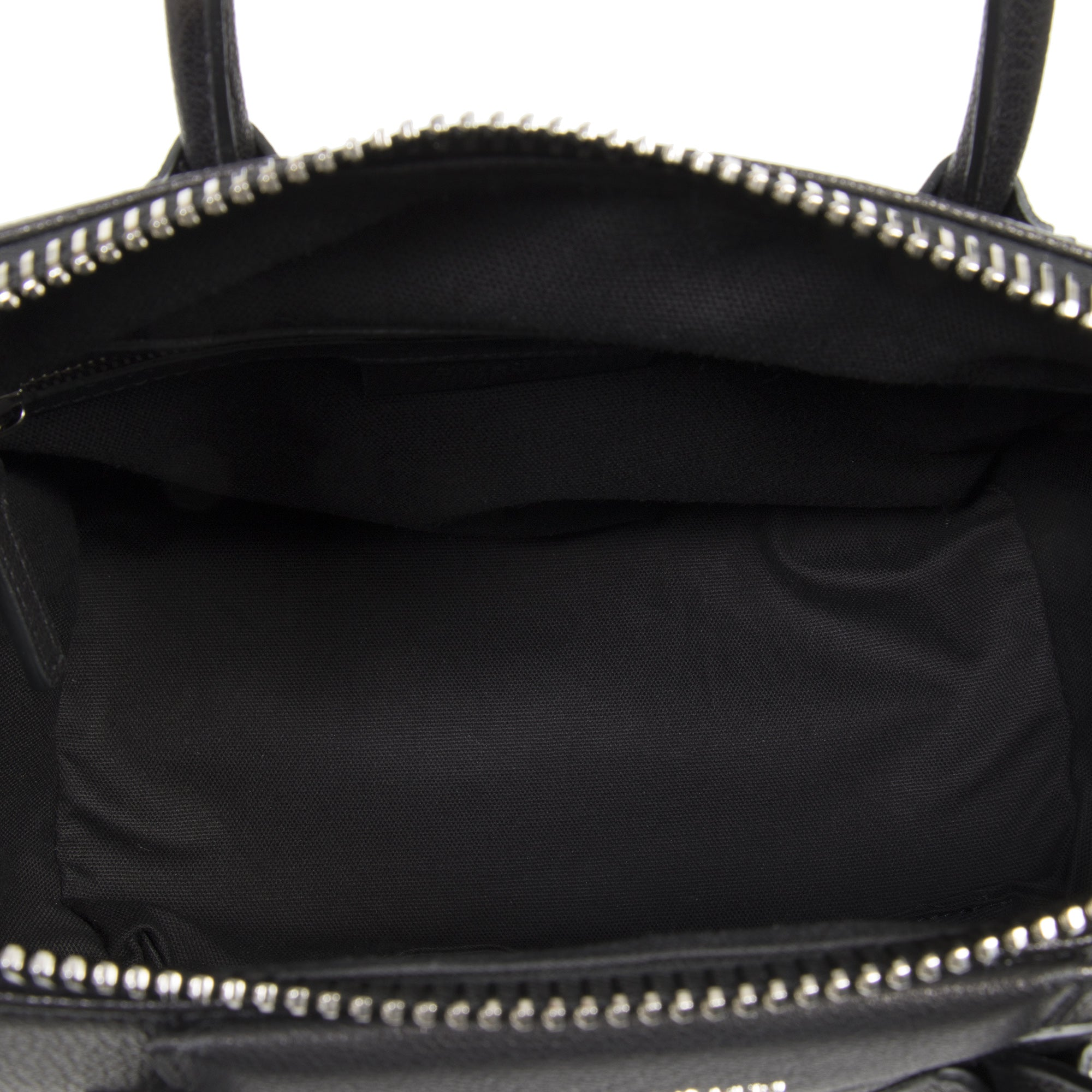 Givenchy Antigona Sugar Goatskin Leather Satchel Bag | Matte Black with Silver Hardware | Small