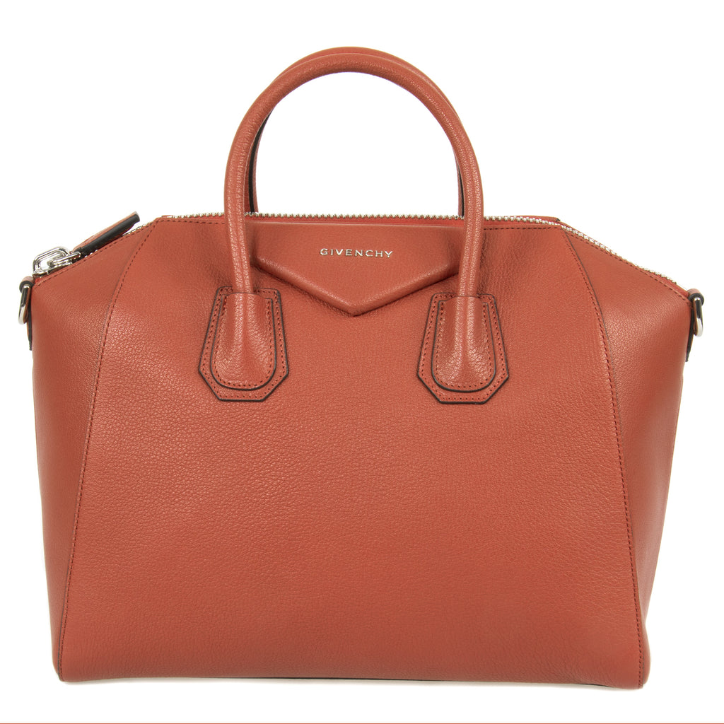 Givenchy Antigona Sugar Goatskin Leather Satchel Bag | Burnt Orange with Silver Hardware | Medium