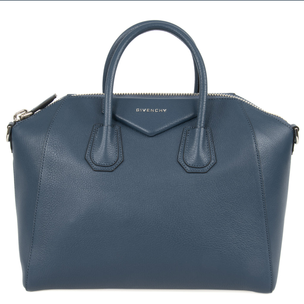 Givenchy Antigona Sugar Goatskin Satchel Bag | Blue Grey | Small