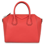 Givenchy Antigona Sugar Goatskin Leather Satchel Bag | Sunset Red with Silver Hardware | Small